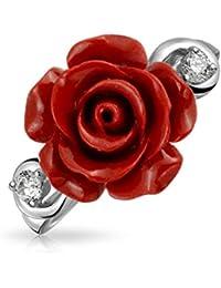 Bling Jewelry 925 Silber Rot Harz Blume Rose CZ moderne Ring rhodiniert