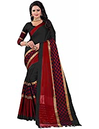 Rajeshwar Fashion Cotton Silk Saree (BOX PALU BLACK RED_Black_Free Size)