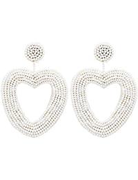 Pendientes de perlas de arroz en forma de corazón hechos a mano con estilo bohemio para mujer, de la marca Youth Union