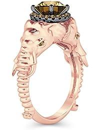 Silvernshine Halo Round Cut Simulated Citrin CZ Diamond 9K Rose Gold Plated Elephant Fashion Ring