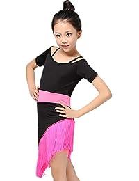 Maybesky Vestido para el niño Niños Niñas Vestido de Baile Latino Manga  Corta Colorblock Franjas Borlas f961ea4e54ab0