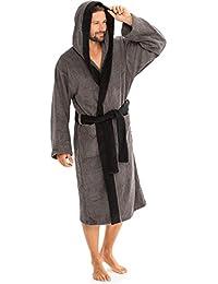 aqua-textil Bademantel Baumwolle für Damen Herren mit Kapuze, Frottee Sauna-mantel, Föhr uni, Sylt zwei-farbig Morgenmantel weich und super flauschig, Bath-robe Waden lang XS bis XXXL