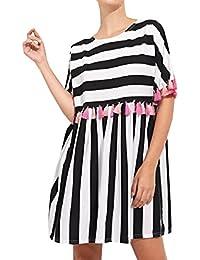 DouYuLike Estivo Corto Vestiti con Frange Donna Casual Rotondo Collo Manica  Corta Vestito da Spiaggia Vacanza a8dadb36af0