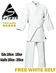 Karate 9oz 100% cotón Uniforme de Karate blanco (3/160cm)
