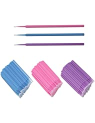 Xelparuc Mikro-Applikatorbürsten, 300 Stück Einweg-Wimpernverlängerungsbürsten für Make-up, Oral- und Zahnmedizin (Violett + Blau + Pink)