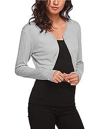 63821859506c Cardigan Frühling Damen Kurzmantel Unifarben Langarm Slim Fit Blickdicht  Casual Festlich Bolerojacke Oberteile Coat Bequeme Trend