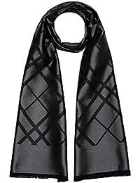 a00c2393718f96 LORENZO CANA Luxus Herren Schal aus 100% Seide aufwändig jacquard gewebt  Damast Seidenschal Seidentuch Tuch schwarz 25…