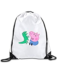 DHNKW AOOPK Unisex Gym Bag Peppa Pig George Logo String Drawstring Bag Backpack