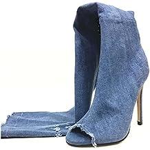 NobS Mujeres Tacones Altos Manga Larga Rodilla Botas Altas Pescado Boca Lavado Tela Peep Toe Sandalias Zapatos Gran TamañO , blue , 36