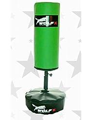 Wolf New Kids Freien Stand Bag Boxing Kick Boxing Boxsack-Ständer schwere Martial Arts Handschuhe Springseil Geschenk Set UK Hergestellt von wolfx (grün)