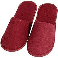 BESTOYARD Zapatillas de hotel Zapatillas de dedo del pie cerradas Zapatillas desechables esponjosas Zapatillas de spa de viaje Tamaño rojo 43