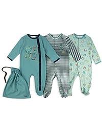 The Essential One - Baby-Jungen - Tierfiguren Schlafanzuge - (3-er Pack mit Beutel) - Blau / Grün - ESS183