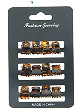 Set 12kleine Haarklammer, Design Schildpatt 1,5cm