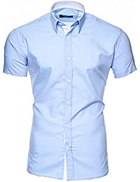 fdbc3b65d6897 Kayhan Homme Chemise Slim Fit Repassage Facile, Coton, Manches Courtes  Coupe Modell - Florida