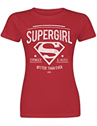 Supergirl Stronger   Faster T-Shirt Manches Courtes Rouge M 6ca611dd153
