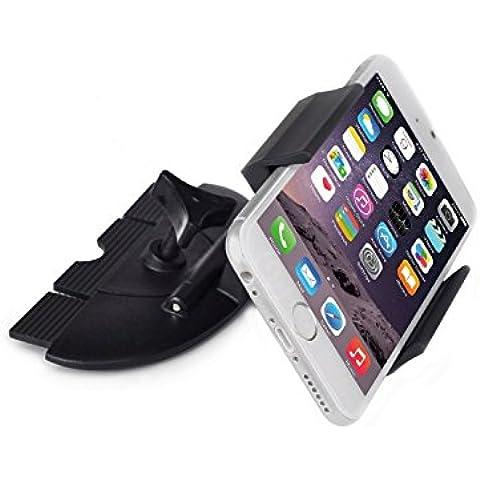 Supporto per auto per lettore CD, APPS2CAR universale culle supporto per auto per iPhone 6S + 6 + 5S 5 Samsung Galaxy S6 S5 S4 Note 5 4 3 LG V10 G4 G3 moto x gioco x stile Sat-Nav GPS ecc - 360° girevole a