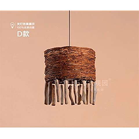 LFH.JY North American Continental Village Soggiorno Camera da letto camera da pranzo negozio di abbigliamento di rattan lampada lampadario pendente soffitto luci ,36*50cm