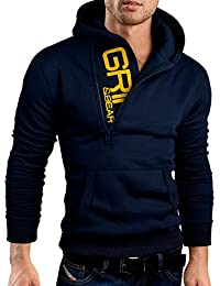 Grin&Bear demi fermeture éclair sweat à capuche veste sweat shirt homme, GEC401