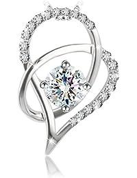 """J.Rosée Collar Plata de Ley 925 """"Amores Dobles"""" con Platino Rodeado de Diamante Collar para Mujer(45CM+5CM)"""