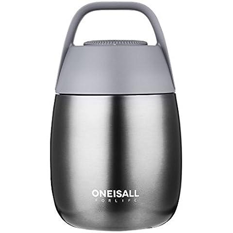 oneisall gybl116450ml para estudiantes acero inoxidable termo para alimentos (con cuchara y asa plegable, aislante Mini comida y sopa termo para niños, 384g gris