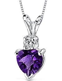 Revoni 14 Karat White Gold Heart Shape 0.75 Carats Amethyst Diamond Pendant