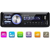 Radio de Coche, Rixow Autoradio Reproductor Estéreo Bluetooth de Coche, Apoyo de Reproductor MP3, Llamadas Manos Libres, Función de FM, USB, SD, AUX, Enchufe de ISO