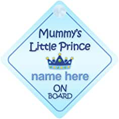 Crown Princess Olive On Board Personalised Baby Girl Car Sign