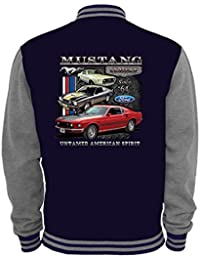 Ethno Designs - Ford Mustang Untamed - Hot Rod Veste College pour femmes et Hommes - Old School Rockabilly Retro Style