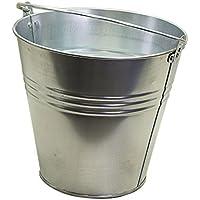 Zinc Cubo Chapa Metal Cubo Cubo de Agua Deko–Cubo macetero (12L galvanizado Maceta Maceta Zinc