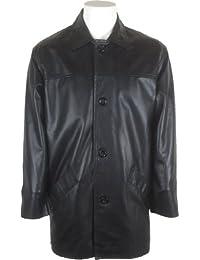 UNICORN Hommes Réel en cuir Veste Hommes Classique Manteau Noir #AE