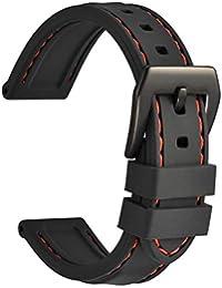 WOCCI 22mm Correa Reloj de Silicona con Hebilla Negra, Caucho Suave Replacement Banda (Negro)
