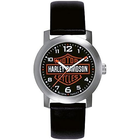 Harley Davidson 76A04 - Reloj analógico de cuarzo para hombres, correa de cuero, color negro