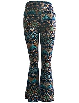 Pantaloni Donna Eleganti Vita Alta Pantaloni A Zampa Elasticizzato Flare Pantaloni Ragazze Giovane Lunghi Pantalone...