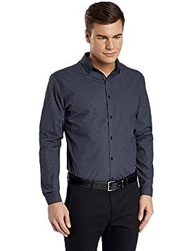oodji Ultra Uomo Camicia Slim Fit con Stampa Geometrica Fitta