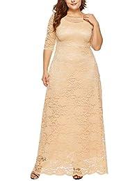 Vestido Encaje Mujer de Fiesta Elegante Largos POLP Talla Grande Vestido de Noche Invierno Vestido de