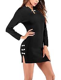 ODJOY-FAN-Donna Sexy Retro Cheongsam Maglieria Vestito Colletto Dritto  Diviso Gonna all anca-Abiti da Sera Abbigliamento Abiti Lunghi… f0d758e14a4