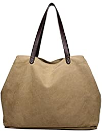 LOSMILE Women's Handbags, Large Canvas Tote Bag Ladies Top Handle Beach Shoulder Bags For School Work Travel And... - B07CPQZLB2