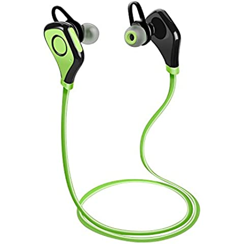 Tenswall Auriculares Deportivos Bluetooth In-ear Estéreo para Correr Gym con Mic Compatible con iPhone 6s 6 Plus 5s, Samsung Galaxy S6 S5 S4, IOS & Andriod Moviles - Verde