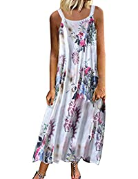 4b822737de Women's Casual Loose Sleeveless Sundress O-Neck A-line Beach Summer Swing  Tank Tunic Dress Vintage Floral Printed Long Maxi Cotton…