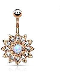 hyidealism oro Color de rosa diseño de flores con Piercing de ombligo vientre botón anillo Barbell cuerpo perforadas joyas