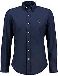 Chemise Ralph Lauren Homme - Couleur Bleu Fonce Logo Jaune - Coupe Slim Fit Ajustée - Manches Longues 100% Coton
