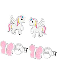 Five-D 2 Pairs children's earrings set unicorn glitter butterfly 925 silver in gift box