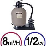 Kit de filtración piscina–Power Flo 8M³/h Hayward–Bomba 1/2CV