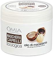 Omia Maschera per Capelli Eco Bio con Olio di Macadamia, Trattamento Ristrutturante per Capelli Stressati e Sp