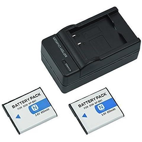mondpalast@ 2X Reemplazo batería Li-ion type NP-BN1 NPBN1 650mAh + cargador para Sony Cybershot , DSC-WX9, DSC-WX30, DSC-WX50, , DSC-WX150, DSC-QX100, DSC-T99, DSC-T110, DSC-TF1, DSC-TX9, DSC-TX10, DSC-TX20, DSC-TX30, DSC-TX55, DSC-TX66, DSC-TX100V, DSC-TX200V, ,DSC-W380, DSC-W390, DSC-W510, DSC-W515PS, DSC-W520, DSC-W530, DSC-W550, DSC-W560, DSC-W570, DSC-W580, DSC-W610, DSC-W620, DSC-W650, DSC-W690, DSC-W710, DSC-W730, DSC-W810,