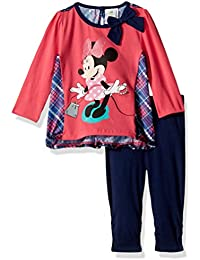 Disney Baby Girls 2-Piece Minnie Mouse Satin Insert Top with Legging Set