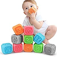 TUMAMA Baby Soft Blocks, Educational Stacking Building Blocks Teething Chewing Toys for Toddlers, Baby Bath Play with Numbers, Shapes, Animals, Alphabet & Textures