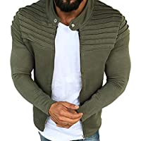 Hombres Otoño Invierno Pliegues Slim Stripe Fit Sudadera Raglan Zipper Cardigan Manga Larga Top Coat M-3XL