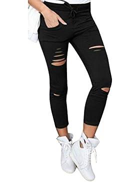 Coversolate Mujer Cintura Alta Pantalones Ajustados Tramo Delgado Pantalones Lápiz (XL, Negro)