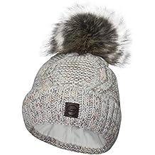 d154dd746f606d ZADSON Stylische Mütze für Damen mit Kunstfell-Bommel - Gefütterte Winter- Mütze Bommelmütze -
